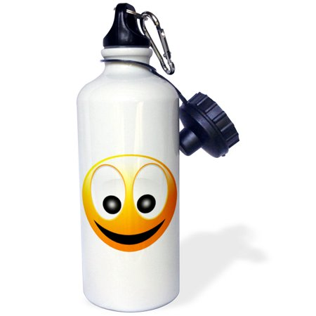 3dRose Smiley Face 1 a yellow and black happy face with a big smile and huge eyes, Sports Water Bottle, - Huge Eyes
