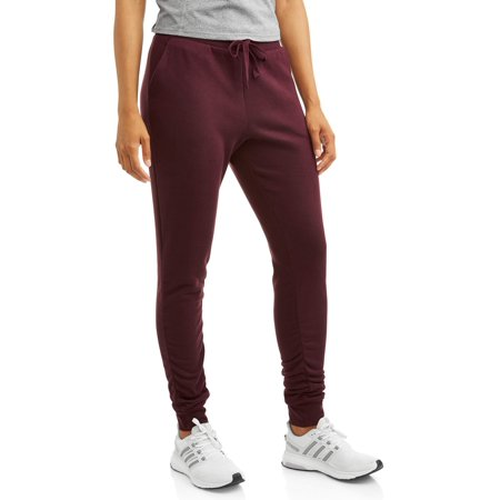 Avia Women's Active Cold Weather Ruched Ankle Fleece Jogger Pant with Front Pockets (Express Womens Pants)
