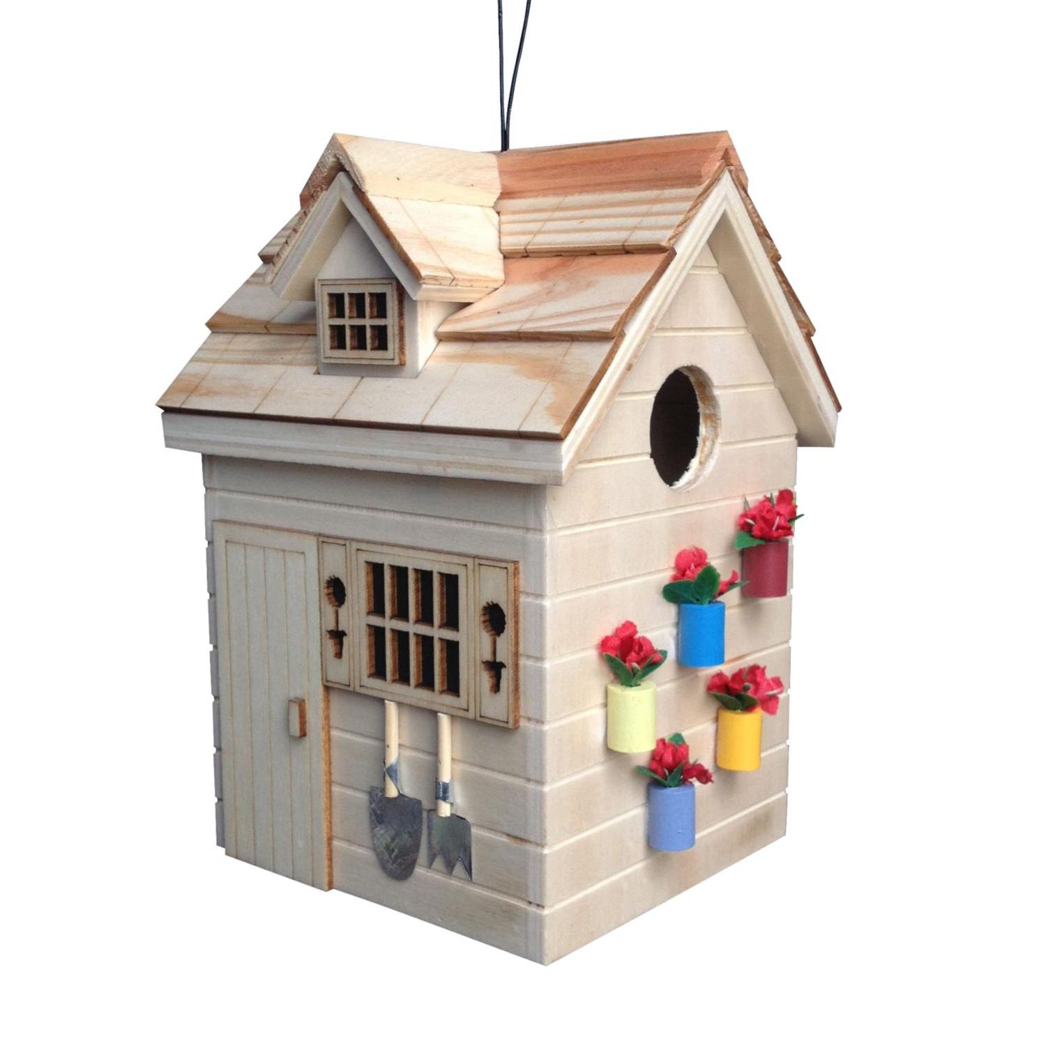 """7.75"""" Fully Functional Nestling Series Natural Wooden Potting Shed Outdoor Birdhouse"""