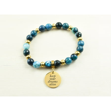 Genuine Agate Inspirational Bracelet - Navy - Keep your dreams alive