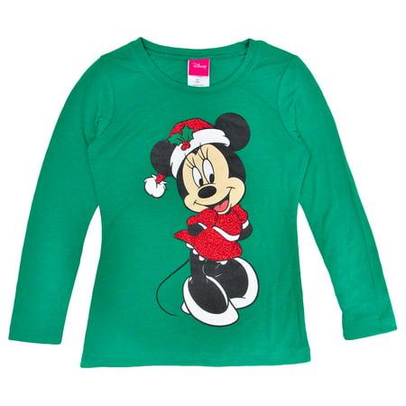 32a492e79d4 Disney - Disney Minnie Mouse Christmas Glitter Girls Long Sleeve Shirt  Green - Walmart.com