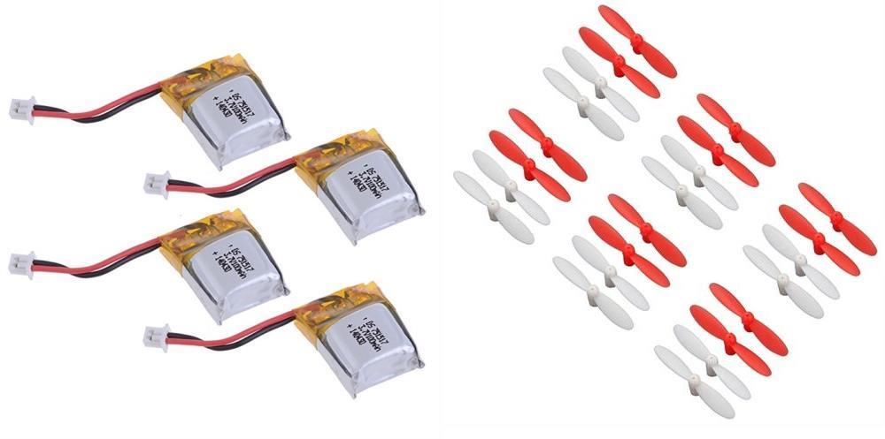 HobbyFlip 3.7v 100mAh Battery(4) w  30mm Propellers Red White 6 Sets for Estes Proto-X by