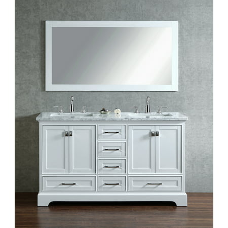 Stufurhome Newport White 60 inch Double Sink Bathroom Vanity with Mirror
