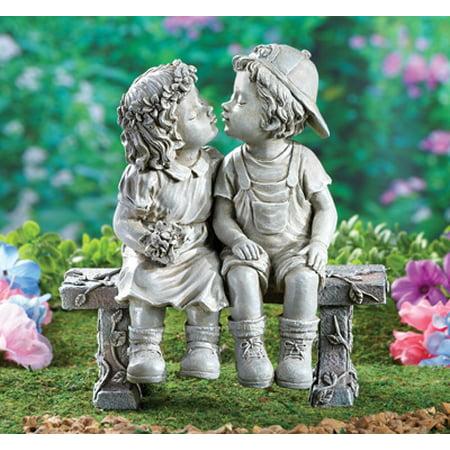 - First Kiss, Puppy Love, Kissing Couple Garden Sculpture Gift Decor House