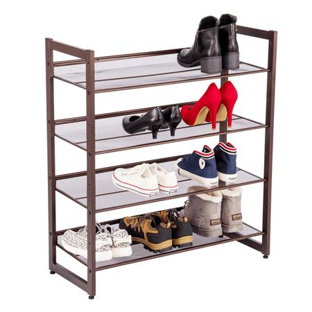 Topeakmart 4 Tier Iron Mesh Adjule Utility Shoe Rack For Closet Entryway