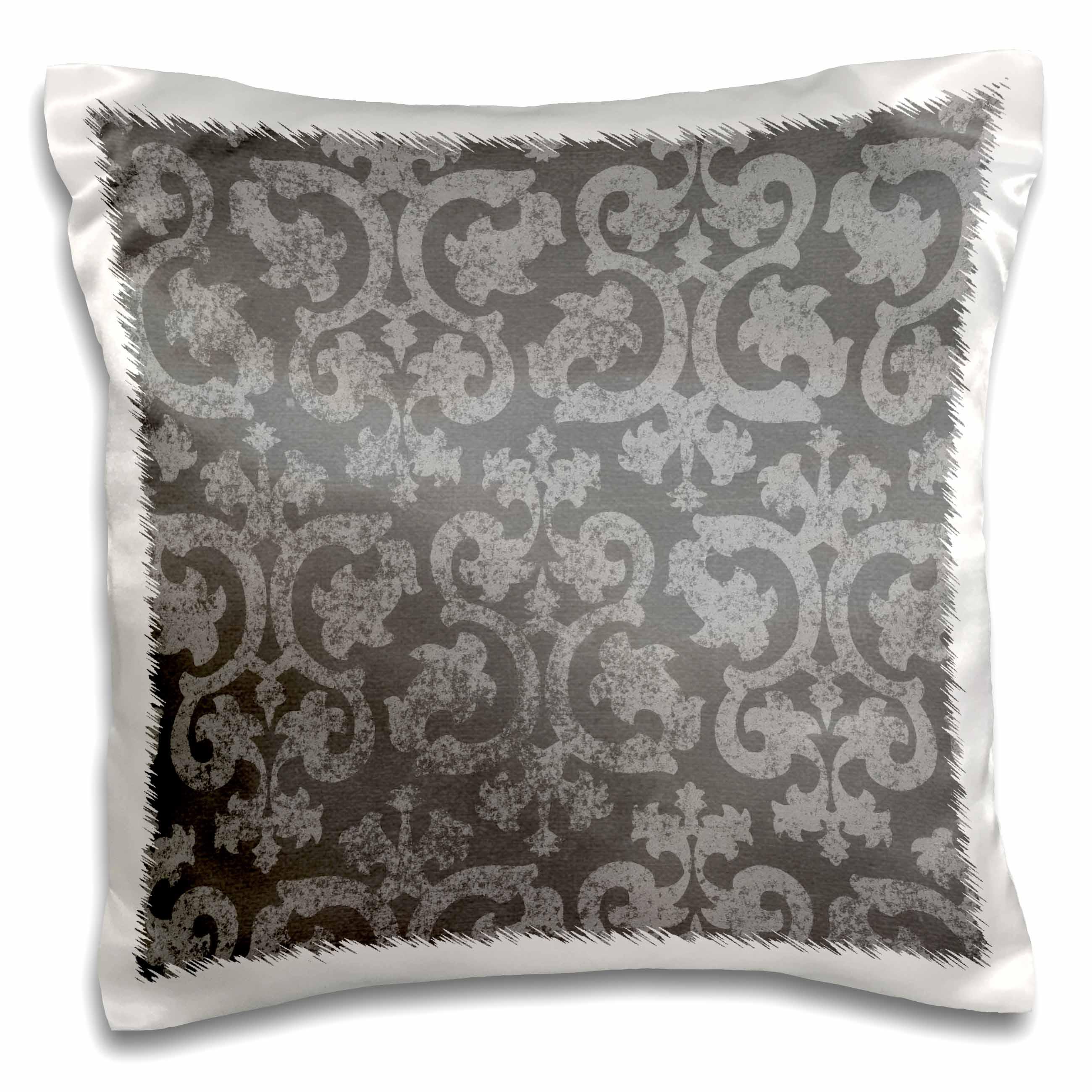 3dRose Grunge dark gray damask - silver grey faded antique vintage swirls wallpaper fancy swirling pattern, Pillow Case, 16 by 16-inch