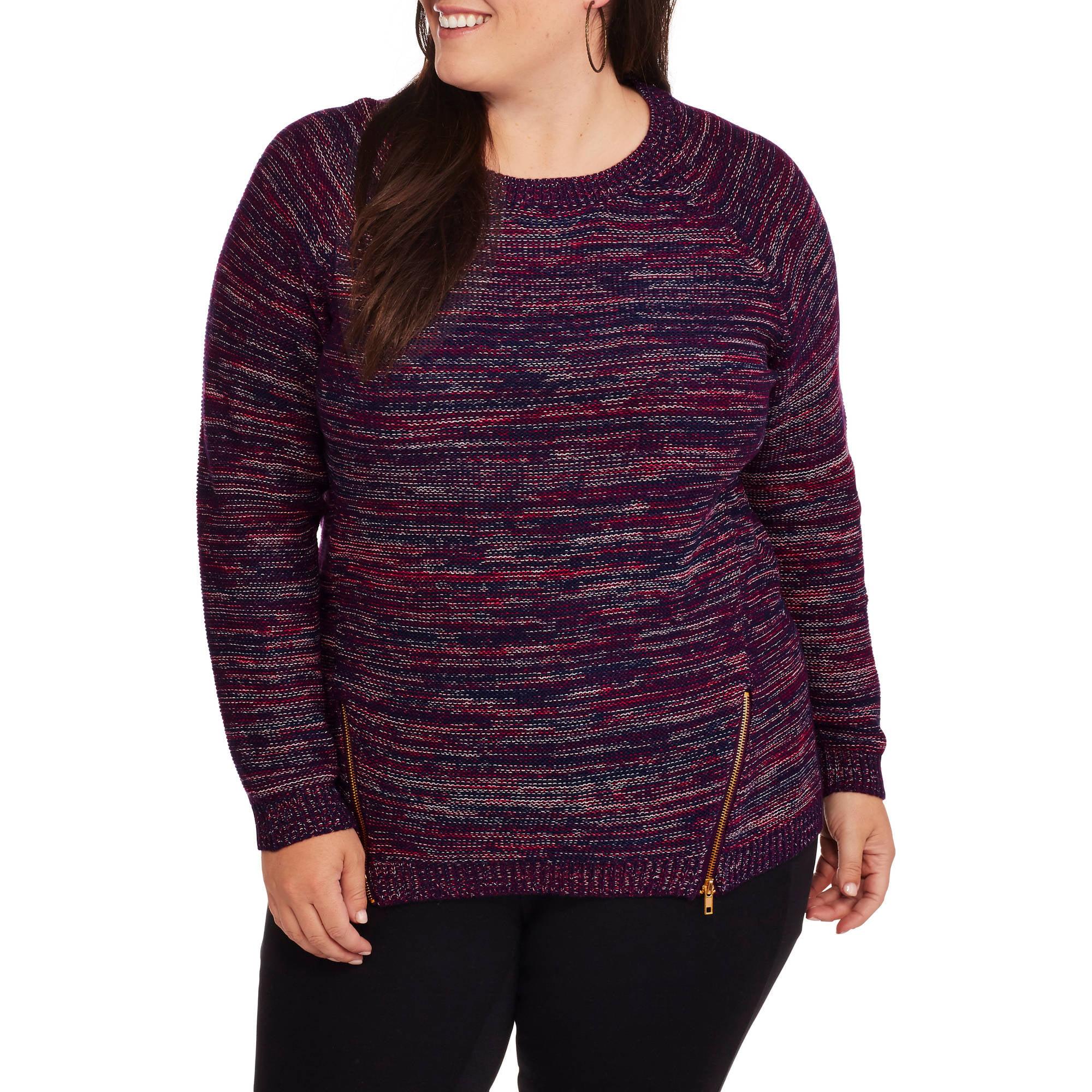 Heart and Crush Women's Plus Multi Knit Zip Side Sweater