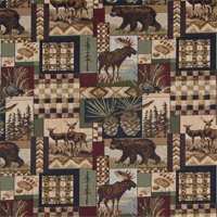Designer Fabrics A014 54 in. Wide , Bears, Deer, Moose, Acorns And Pine Trees, Themed Tapestry Upholstery Fabric
