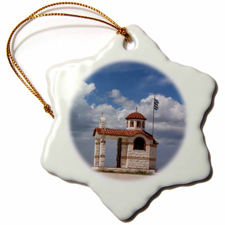 Chapel Ornament - 3dRose Greece, East Macedonia and Thrace, Likofos, Greek Orthodox chapel. - Snowflake Ornament, 3-inch