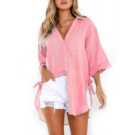 Women Summer Lace-up Button Plain V-neck Lapel Irregular T-Shirt 3/4 Sleeve Casual Ladies Loose Baggy Blouse Tops