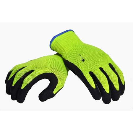 G & F Premium High-Visibility All-Purpose Safety Work and Garden Gloves with Micro-foam Double Texture-Coating, Men and Women, X-Large