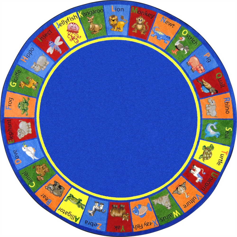 "Kid Essentials Early Childhood Animal Phonics, 7'7"" Round, Multicolored by Joy Carpets"