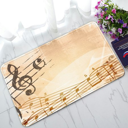 Math Music (PHFZK Music Notation Poster, Abstract Grunge Melody Music Doormat Outdoors/Indoor Doormat Home Floor Mats Rugs Size 30x18 inches)