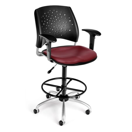 OFM Stars Series Model 326-V-AA3DK Anti-Microbial/Anti-Bacterial Vinyl Swivel Task Chair with Arms and Drafting Kit, Wine ()
