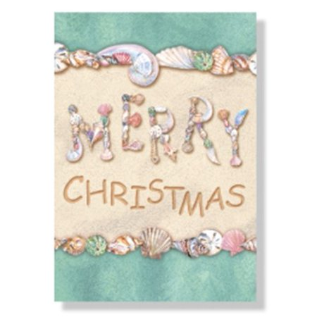 Envelope Box Set (Christmas Cards - Box Set 18 Cards and 18 Envelopes - Merry Christmas Written in the Sand with)
