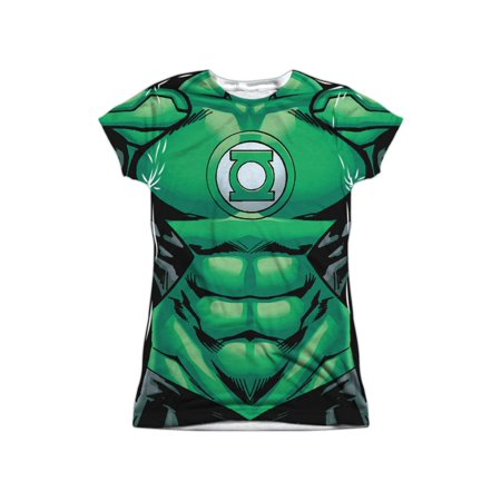 Green Lantern DC Comics Superhero Hal Jordan Costume Juniors Front Print T-Shirt - Green Lantern Costume Girl