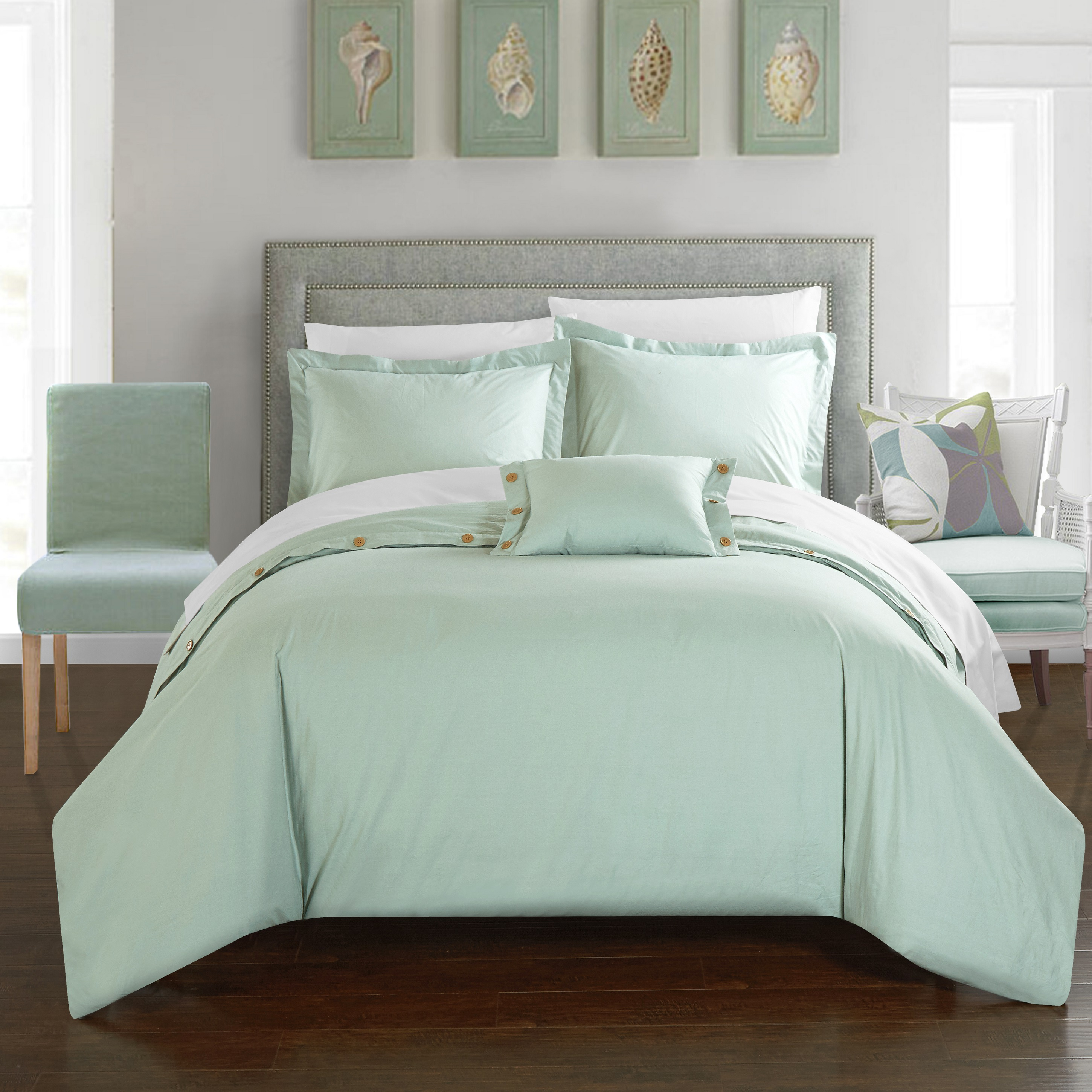 Chic Home 3-Piece Astrid 200 Thread Count COMBED FINISH 100% Cotton Twill Weave Decorative Button Closure Detail Twin Duvet Cover Set Aqua Shams and Decorative Pillows included