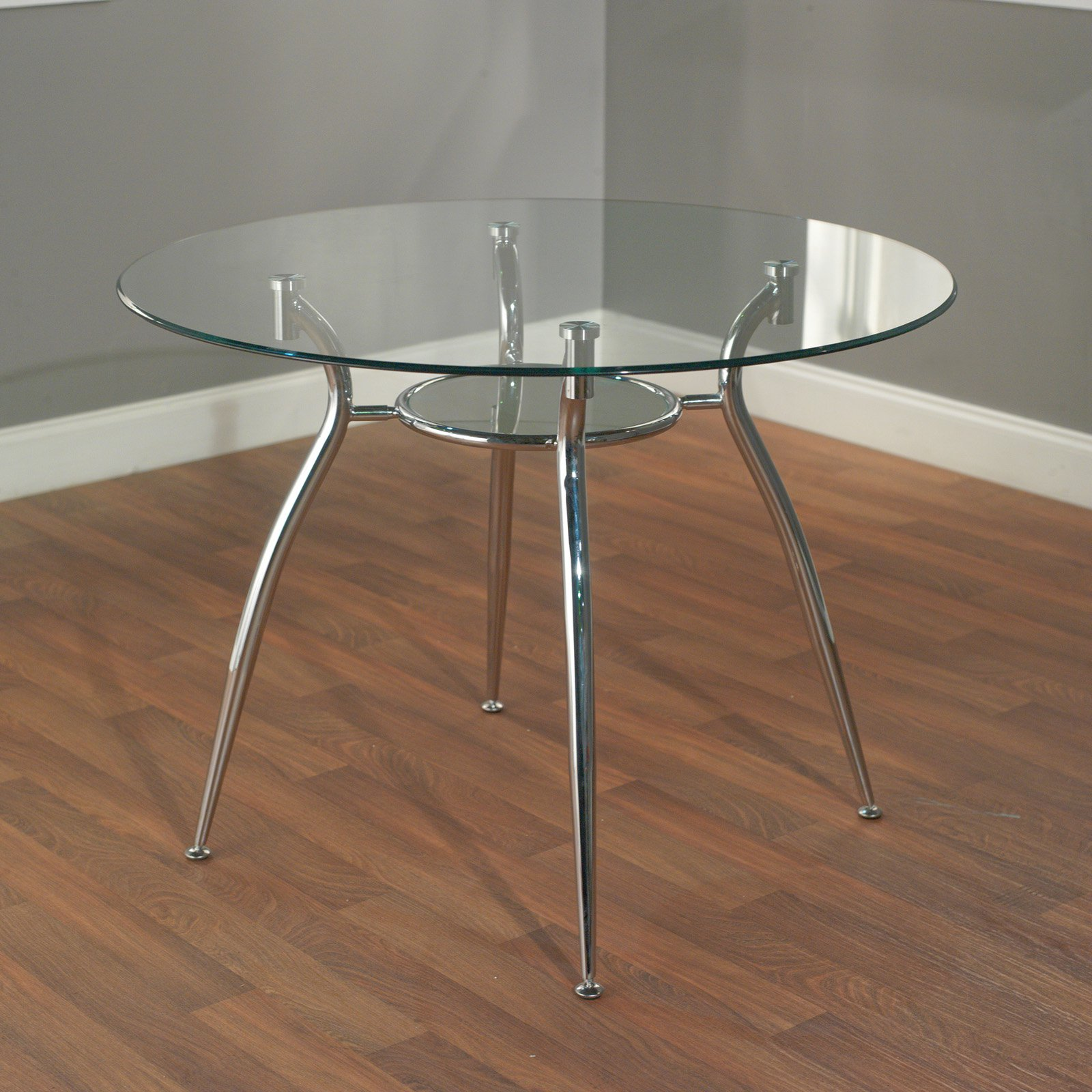 Mabel Glass Top and Metal Dining Table, Box 1 of 2 by Generic