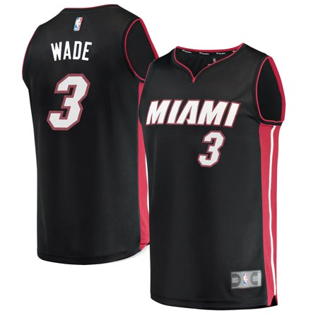 Miami Heat Mens Jerseys - Men's Miami Heat Dwyane Wade Generic Branded Black Fast Break Replica Jersey - Icon Edition-S