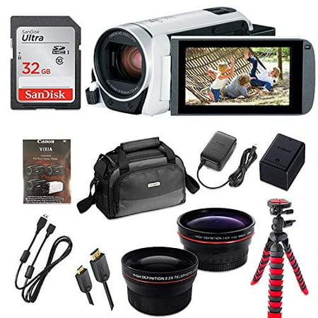 Canon VIXIA HF R800 Full HD Camcorder (White), CMOS Sensor, 57x Advanced Zoom, Fast & Slow Motion Recording + 32GB Storage + Spider Tripod +