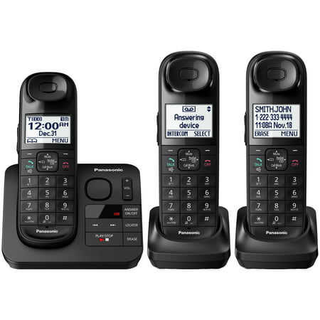Panasonic Black Cordless Telephone with 3 Handsets and Answering (Panasonic Cordless Landline Phone Price In India)