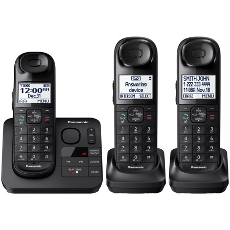 Panasonic Black Cordless Telephone with 3 Handsets and ...