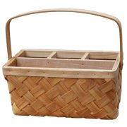 Vintiquewise Natural Woodchip Picnic Flatware Serving Caddy Basket