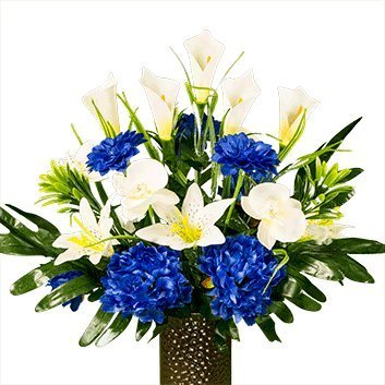 Blue Peony With White Lily And Orchid Artificial Bouquet Featuring