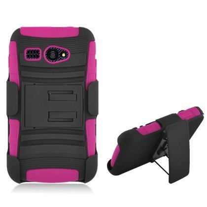 Aimo Wireless Hot Pink Armor Case with Holster and Swivel Belt Clip Combination for Kyocera Hydro C5170 - Retail Packaging - Hot - Swivel Retail Package