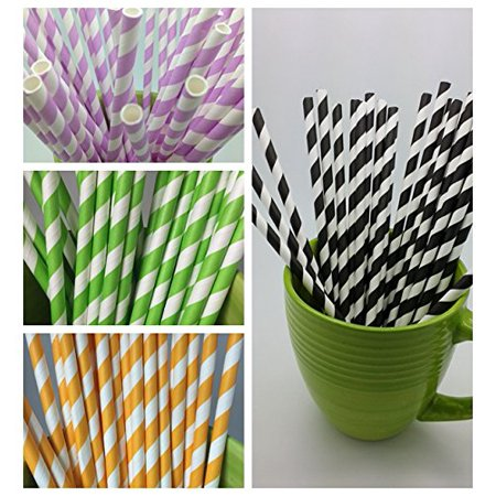 5 Stripes Paper Straws - Party DIY, Mason Jars, Baby Shower, Wedding 125 straws - Mason Jar Centerpieces For Graduation Party