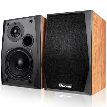 Costway Wall-mount Passive Bookshelf Speakers Professional Home Office W/ 4'' Woofer ()