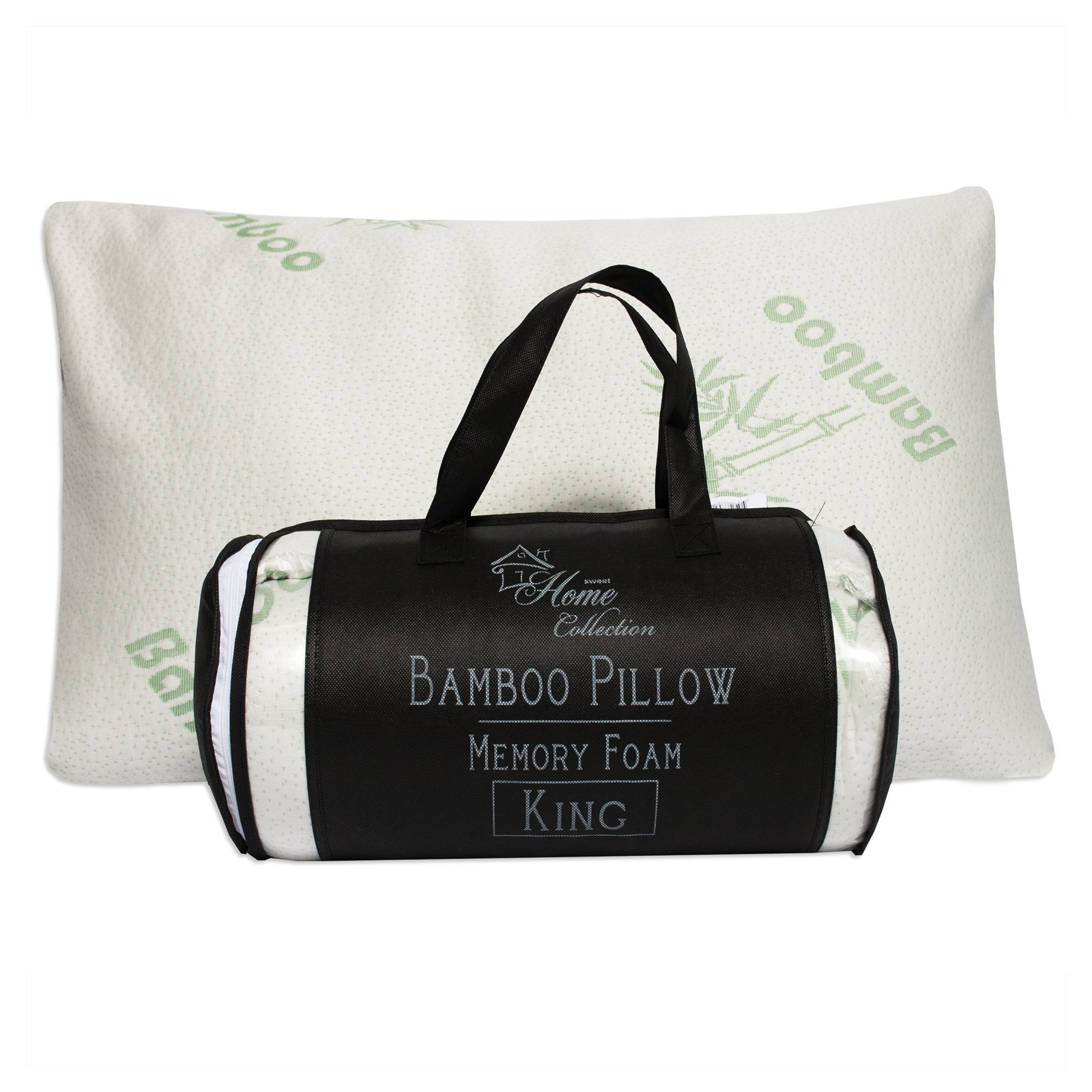 Hypoallergenic Bamboo Memory Foam Bed Pillow with Carry Bag by Sweet Home Collection