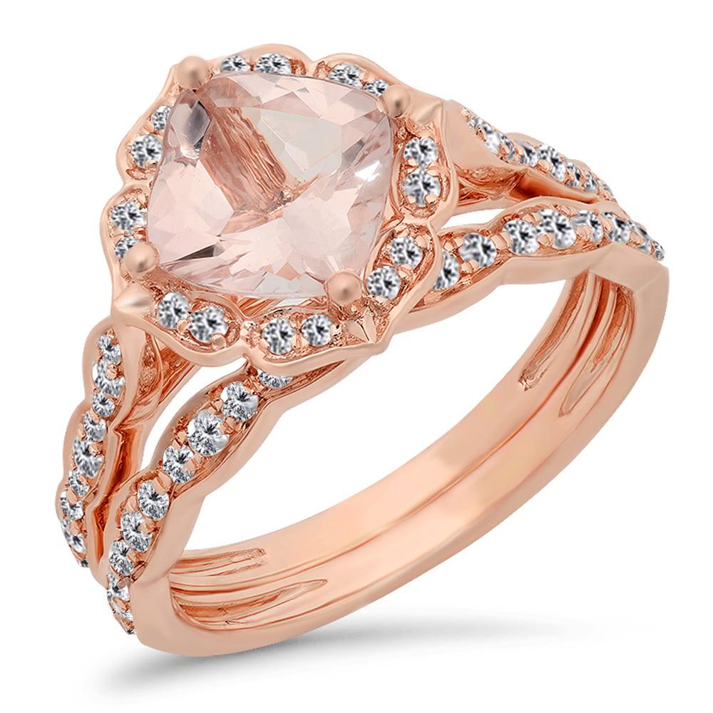 14K Rose Gold Cushion Cut Morganite & Round Cut White Diamond Ladies Bridal Engagement Ring Set 2 CT
