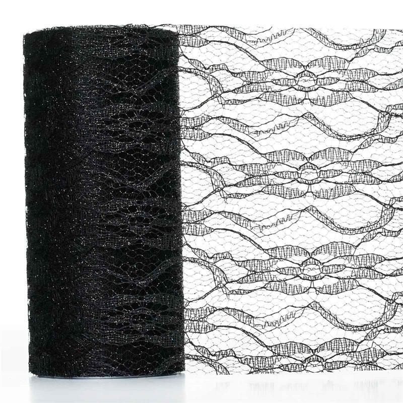 BalsaCircle 6 inches x 10 yards Glittered Lace Fabric by the Roll Crafts Sewing Wedding Party Draping DIY Decorations