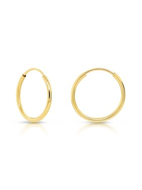 Tilo 14k Yellow Gold Endless Hoop Earrings, Continuous Endless Hoops Earring (Unisex) (10mm )-Single Earring
