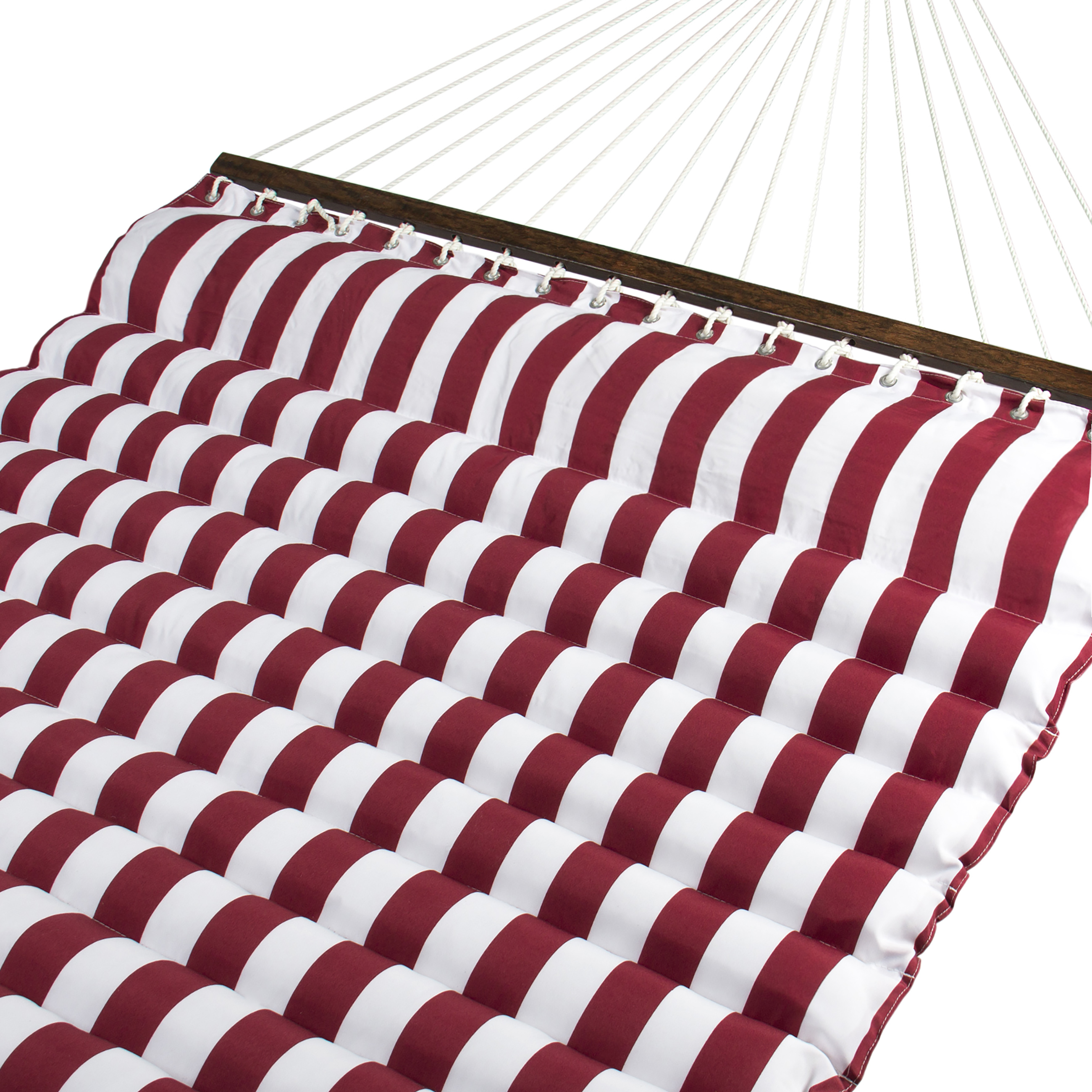 BCP Deluxe Double Two Person Pillow Top Hammock Extra Comfort Red White Stripe by
