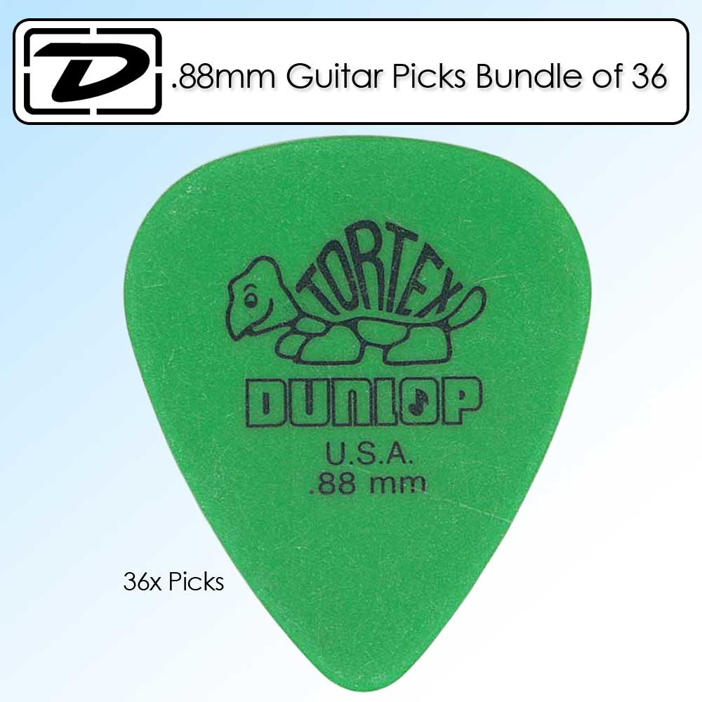 Dunlop 418P.88 Tortex Standard .88mm Green Guitar Picks 36 Pack Kit