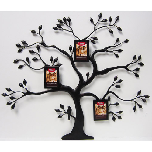 Better Homes and Gardens Metal Family Tree with 3 Mini Bronze Hanging Frames, Oil-Rubbed Bronze