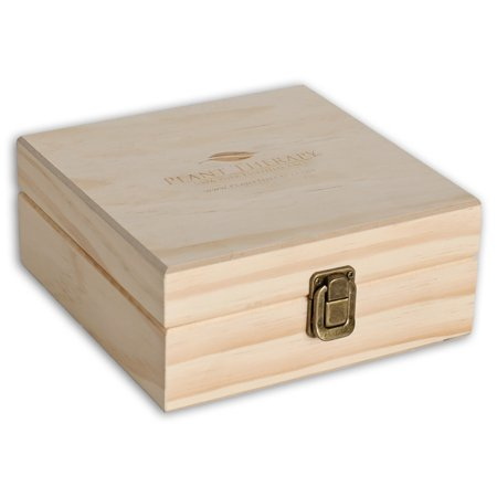 (Plant Therapy 25 Count Plant Therapy Logo Wooden Essential Oil Organizer Storage Box for Bottle Size 5-15 mL)