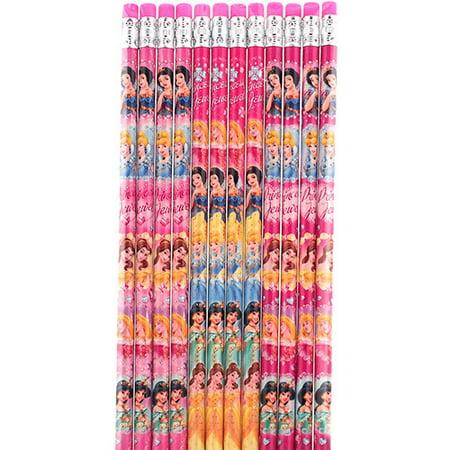 Princess Character 12 Hot Pink Wood Pencils Pack