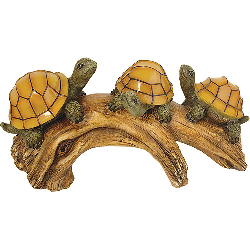 Nice Moonrays 91515 Solar Powered Turtles On A Log With LED Glowing Shells