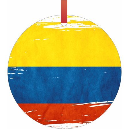 Flag Colombia - Colombian Flag Round Shaped Flat Semigloss Aluminum Christmas Ornament Tree Decoration