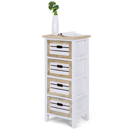 Costway Wooden Chest Bedside Table Nightstand Cabinet Side End Table 4 Drawer ()