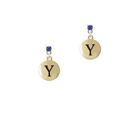 Capital Gold Tone Letter   Y   Pebble Disc    Blue Crystal Post Earrings