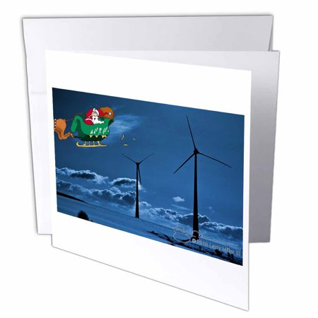 3Drose Larry Miller   Santa Discovers Wind Farms  Greeting Card  6 X 6 Inches  Single