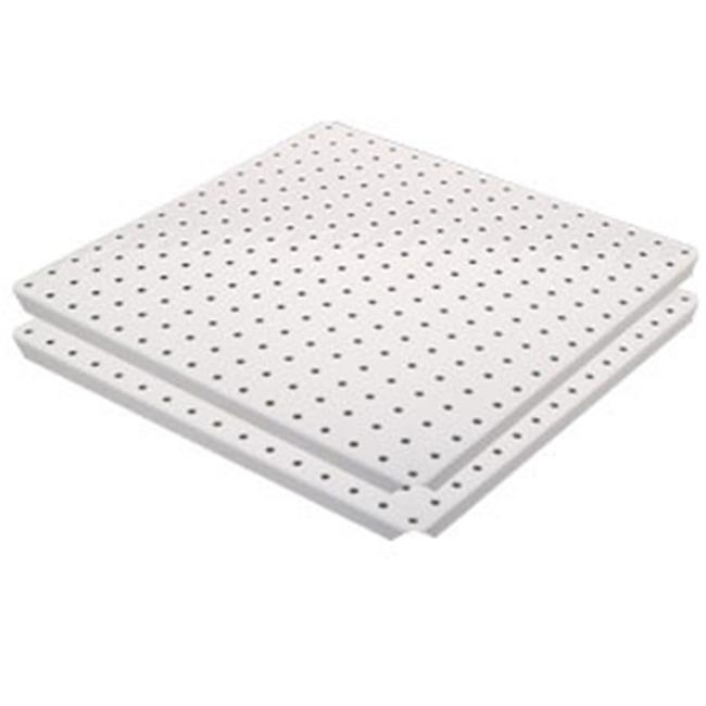 Alligator Board ALGSTRP16x16PTD-WHT White Powder Coated Metal Pegboard Panels with Flange - Pack of 2