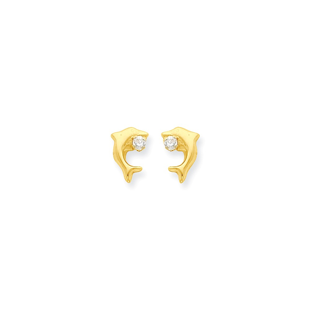 14k Yellow Gold Childs Dolphin w/ CZ Post Earrings w/ Gift Box (10MM Long x 8MM Wide)