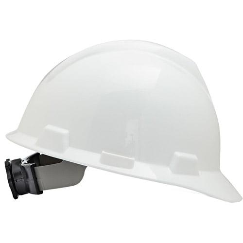 MSA V-Gard Hard Hats w Ratchet Suspension, Large Size 7 1 2 8 1 2, White by MSA