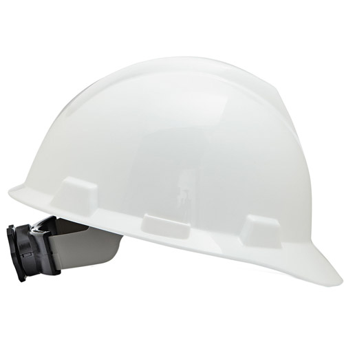 MSA V-Gard Hard Hats with Fas-Trac Ratchet Suspension, Large Size 7 1/2 8 1/2, White