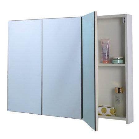Costway 36 39 39 Wide Wall Mount Mirrored Bathroom Medicine Cabinet Storage 3 Mirror Door